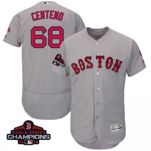 Youth Majestic Juan Centeno Boston Red Sox Authentic Gray Flex Base Road Collection 2018 World Series Champions Jersey