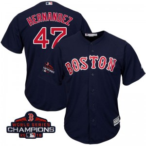 Youth Majestic Gorkys Hernandez Boston Red Sox Replica Navy Cool Base Alternate Collection 2018 World Series Champions Jersey