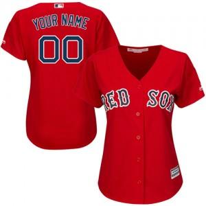 Women's Majestic Custom Boston Red Sox Authentic Red ized Alternate Home Cool Base Jersey