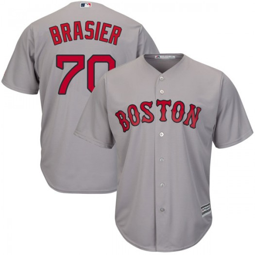 Youth Majestic Ryan Brasier Boston Red Sox Authentic Gray Cool Base Road Jersey