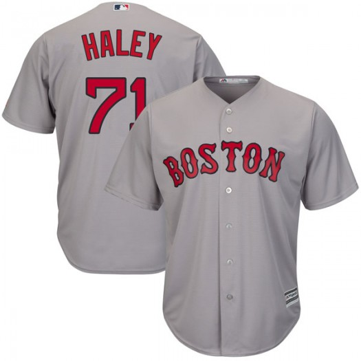 Youth Majestic Justin Haley Boston Red Sox Authentic Gray Cool Base Road Jersey