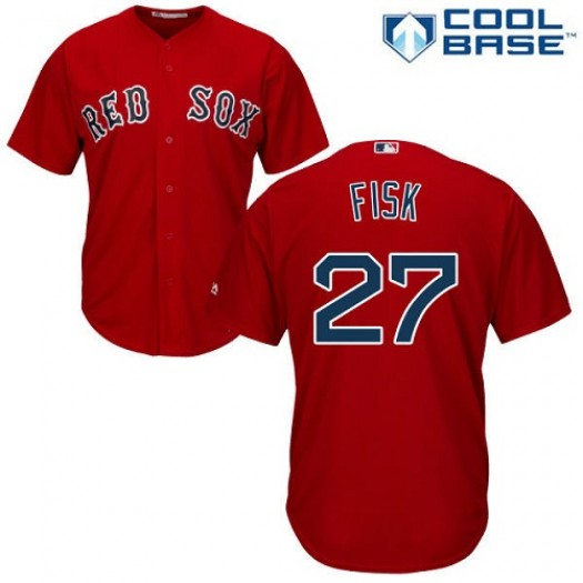 Men's Majestic Carlton Fisk Boston Red Sox Player Replica Red Alternate Home Cool Base Jersey
