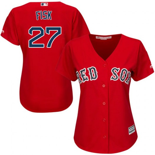 Women's Majestic Carlton Fisk Boston Red Sox Player Authentic Red Alternate Home Jersey