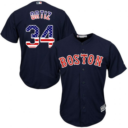 Men's Majestic David Ortiz Boston Red Sox Player Authentic Navy Blue USA Flag Fashion Jersey