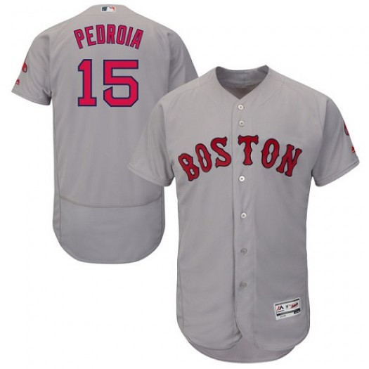 Men's Majestic Dustin Pedroia Boston Red Sox Player Authentic Grey Flexbase Collection Jersey