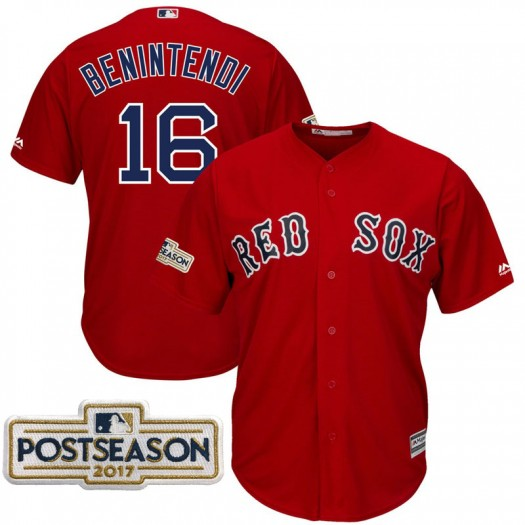 Men's Majestic Andrew Benintendi Boston Red Sox Player Replica Scarlet 2017 Postseason Cool Base Jersey