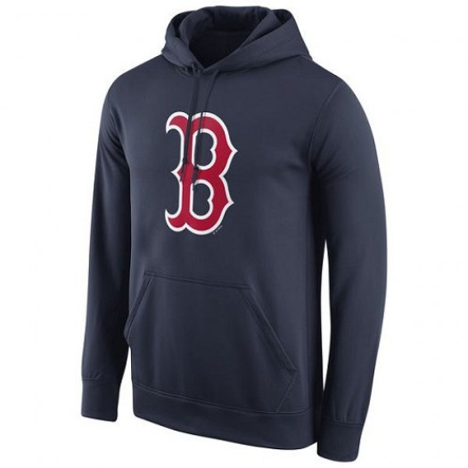 Men's Nike Boston Red Sox Player Navy Logo Performance Pullover Hoodie -